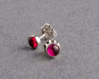 Ruby Silver Dot Stud Earrings