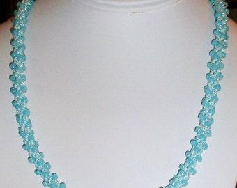 Kumihimo Aqua Blue Necklace