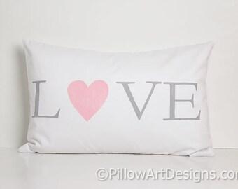 Nursery Decor Love Pillow Grey White Cotton Lumbar with Heart Rectangular 12 X 18 Made In Canada