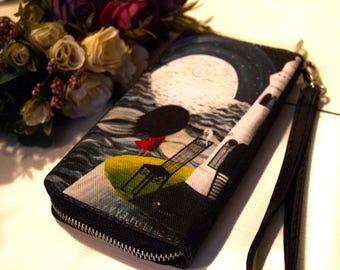 Printed fabric purse, womens purse, art purse, original purse, ladies handmade purse, little purse, lighthouse, sea, illustration