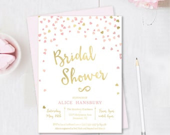 Pink and Gold Bridal Shower Invitation - Pink and Gold Invitation - Bridal Shower Invite - Pink and Gold Bridal Shower Invite