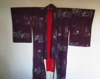 purple lacquered in gold and silver kimono