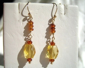 Sweet Citrine and Hessonite Garnet Earrings