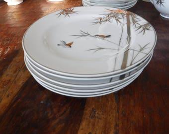 Set of 6 Vintage Japanese Kutani Lunch Dessert Plates Silver Bamboo