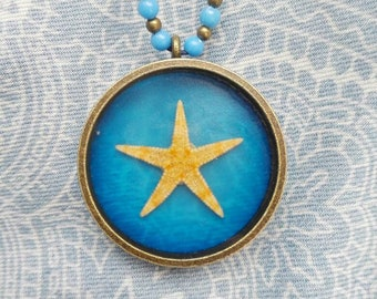 Mermaid necklace Real starfish pendant Navy blue Ocean necklace Nautical gift Summer wedding gift for bride boho pendant adjustable necklace