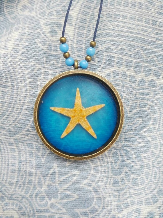 Real starfish pendant necklace Navy blue Ocean necklace Nautical gift Summer wedding gift for bride boho pendant adjustable necklace