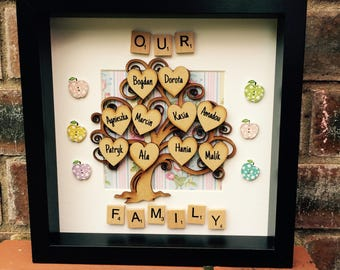 Big family tree personalised with up to 10 names