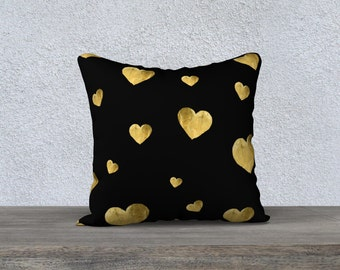 Throw Pillow Case, Floating Golden Hearts - by RDelean - Black Gold Home Decor Love