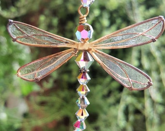 Rear View Mirror Charm, Sun Catcher Dragonfly, Dragonfly Ornament, Swarovski Crystal Dragonfly, Crystal Dragonfly Ornament, Gift Women