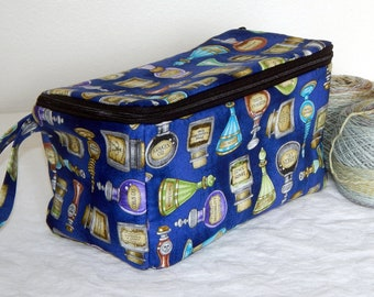 """Zippered project yarn box, double wide, 10"""" x 5.5"""" sock box bag, knitting, crochet, embroidery, Harry Potter, Potions"""
