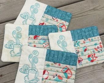 Owl Mug rugs set of 4, coffee mats, embroidered mug rugs, embroidered coasters,kitchen linens,coffee coasters