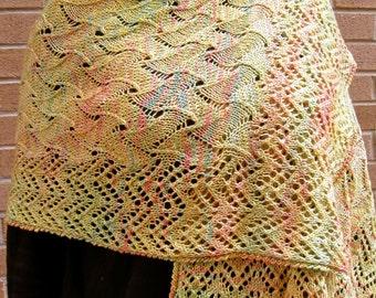 Knit Shawl Pattern:  Aristotle's Lace Wrap Knitting Pattern