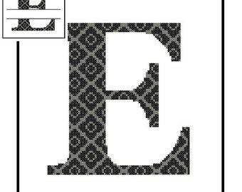 Monogram E Cross Stitch Pattern E Initial E Letter cross stitch Wedding Gift House Warming split letter cross Wedding Record Anniversary