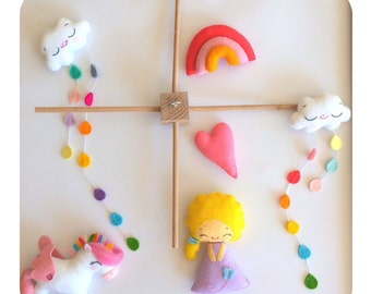 Baby mobile unicorn, butterfly fairy, clouds, heart, rainbow nursery decoration