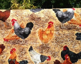 Fabric, patch, coupon, chickens, 30 x 55, animals, farm, makower uk england