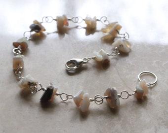 Opal Bracelet, Gemstone Bead Bracelet, Sterling Silver Beaded Bracelet, Silver Boho Beaded Bracelet, Lobster Clasp