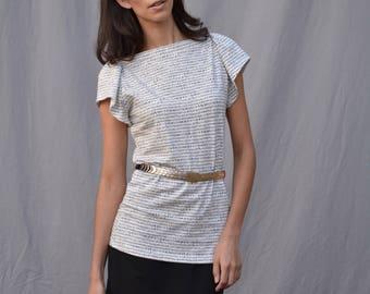 FAE Top, Dash Print, Baumwoll-Jersey, flattern Ärmel, Modern-auf Bestellung handgefertigt