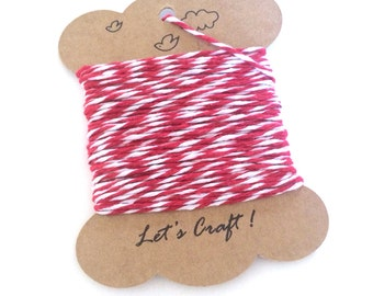 bakers twine - 10 yards cotton twine - gift wrapping twine - crafting twine - striped bakers twine - red and white cotton baker's twine