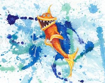 "PRINT of ""Psycho"" Crazy Fish, Fish Art, Fish Painting, Fish Print, Watercolor, Wall Art, Home Decor, Funny Fish, Cartoon, Fishing, Kids Room"