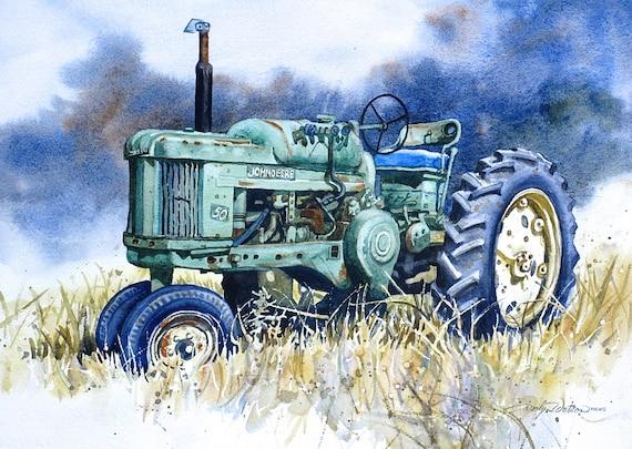 John Deere 50 Tractor Print Of Original Painting