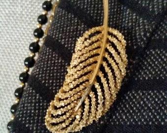 Vintage brooch BSK brooch vintage BSK vintage jewelry BSK jewelry leaf brooch gold leaf brooch antique brooch antique jewelry