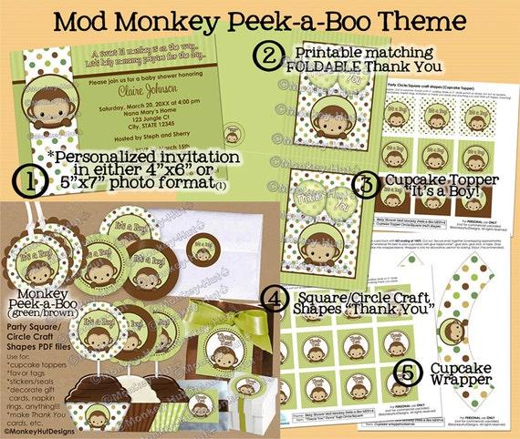 Peek A Boo Mod Monkey Baby Shower Basic Party Set Mppv4