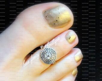 Silver Toe Ring, Rhinestone Toe Ring, Tribal Toe Ring, Toe Ring, Silver Ring, Rhinestone Ring, Stretch Bead Toe Ring
