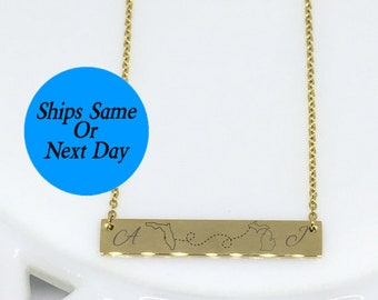 State Necklace, Gold Bar Necklace, State Bar Necklace, Best Friend Necklace, Long Distance Necklace, Long Distance Jewelry, State Bar Charm