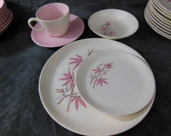 Pink Bamboo by Salem Dinnerware Set, 65 Pieces, Mid Century, 1950s-1960s