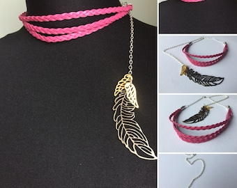 Braided faux leather choker with feather back charms