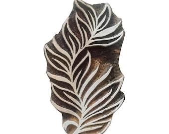 Leaf hand carved Stamp Indian Wood Stamp Wood Block Stamp