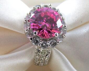Art Deco Pink Rhinestone Ring