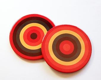 Coasters, Barware, Drink Coasters, Hostess Gift, Bright colors, Set of Coasters, Orange, Brown, Home Decor, Housewarming Gift (5038b)