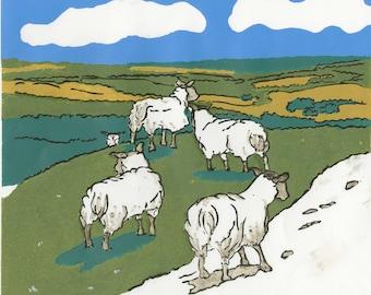 SHEEP on the TRUNDLES   Original Linocut Handprinted