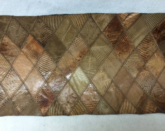 "AM036 Partridge Brown Lizard Print Leather Aprox 23""LX11""W X 1/32"" Thick/LG"