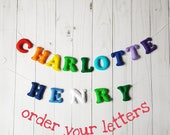 Personalized felt name garland Kids room banner Birthday decor Party wall decor Felt letter Name banner Hanging wall letter Order your color