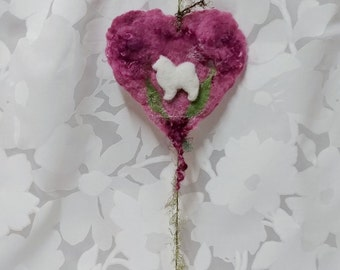 Felted Heart With Samoyed