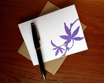 Purple Leaf Letterpress Greeting Card Nature Nouveau A2 with Envelope Blank Inside