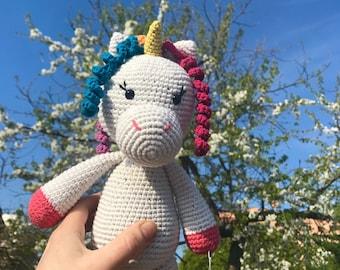 Magic unicorn/Knitted mythical animal/Gift soft toy/Fairy tail gift/Stuffed animal/Birthday/Crochetted amigurumi/Newborn baby/Kids present
