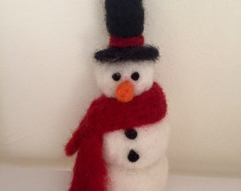 Needle felted snowman ornament, needle felt Christmas decoration