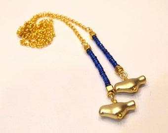 Gold and Blue Bird Lariat Necklace
