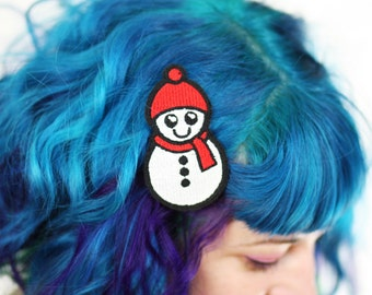Snowman Hair Clip, Snow Barrette, Kawaii Hair Clip, Red and White