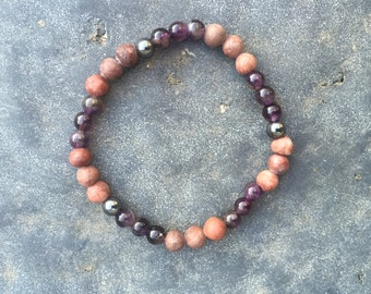Red Picture Jasper, Amethyst And Hematite Grounding Bracelet • Men's Bracelet • Unisex • Anti-anxiety • Reiki Charged • Healing Crystals