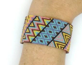 Crazy Diagonals Wide Peyote Cuff Bracelet