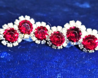 Beautiful Weiss Signed Red and Clear Rhinestone Earrings
