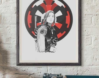Rogue one - Jyn Erso - Rebel- Wall Decor - Artwork- Painting - Illustration - Home Decor