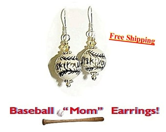 Baseball Earrings, Softball Earrings, Coach Gift, Sports Jewelry, Baseball Mom