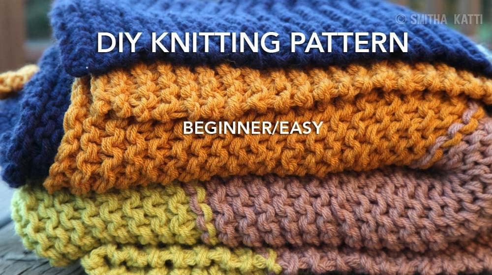 Diy Knitting Pattern Easy Beginner Chunky Blanket 5 Color Knit