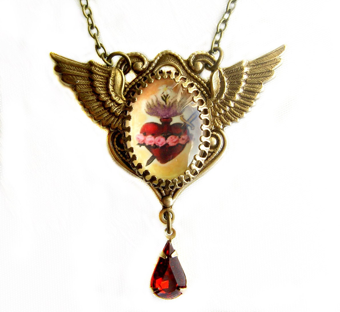 Sacred heart pendant immaculate heart wings necklace heart ampliar aloadofball Images