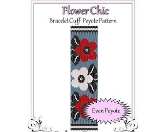 Bead Pattern Peyote(Bracelet Cuff)-Flower Chic
